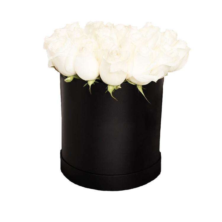 25 белых роз в черной коробке (на белом фоне)
